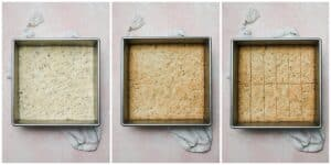 step-by-step photos of baking and sliced rosemary shortbread in a square baking pan