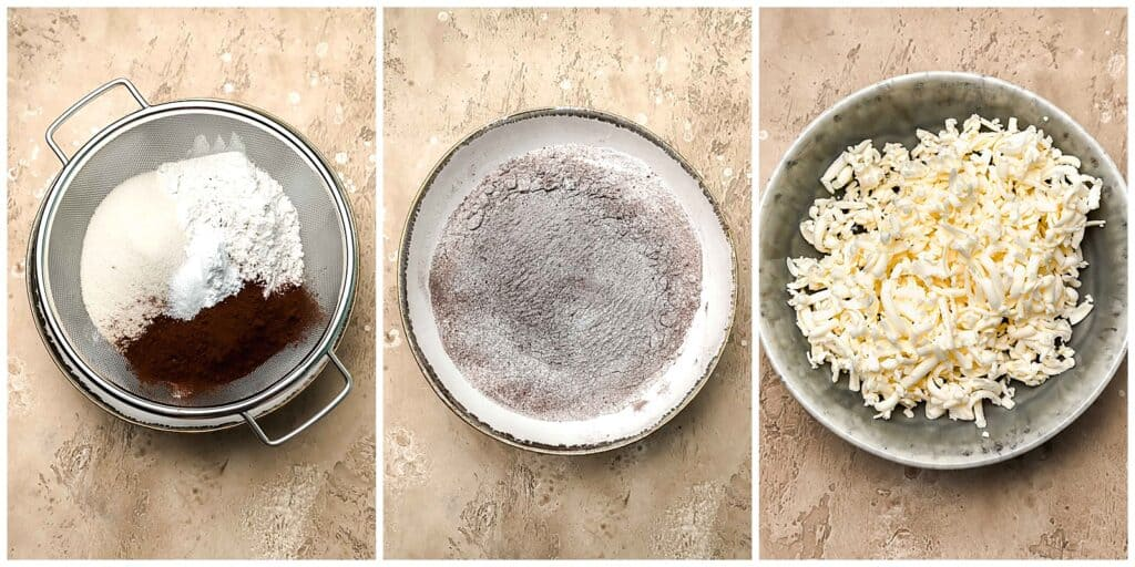 sifted dry ingredients and grated frozen butter in bowls before mixing together for chocolate scones