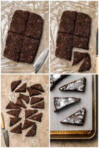 how to slice chocolate chunk scones into triangles with step-by-step photos