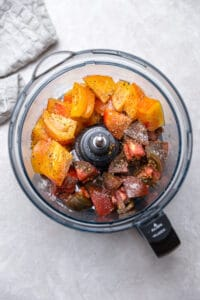 heirloom tomatoes in a food processor