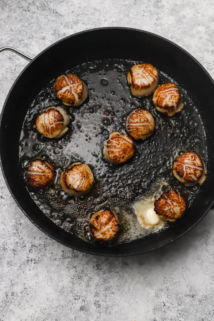 sea scallops in browned butter in a large skillet