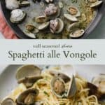 clams in a skillet with white wine sauce on top, spaghetti all vongole in a white bowl with a gold fork on the bottom