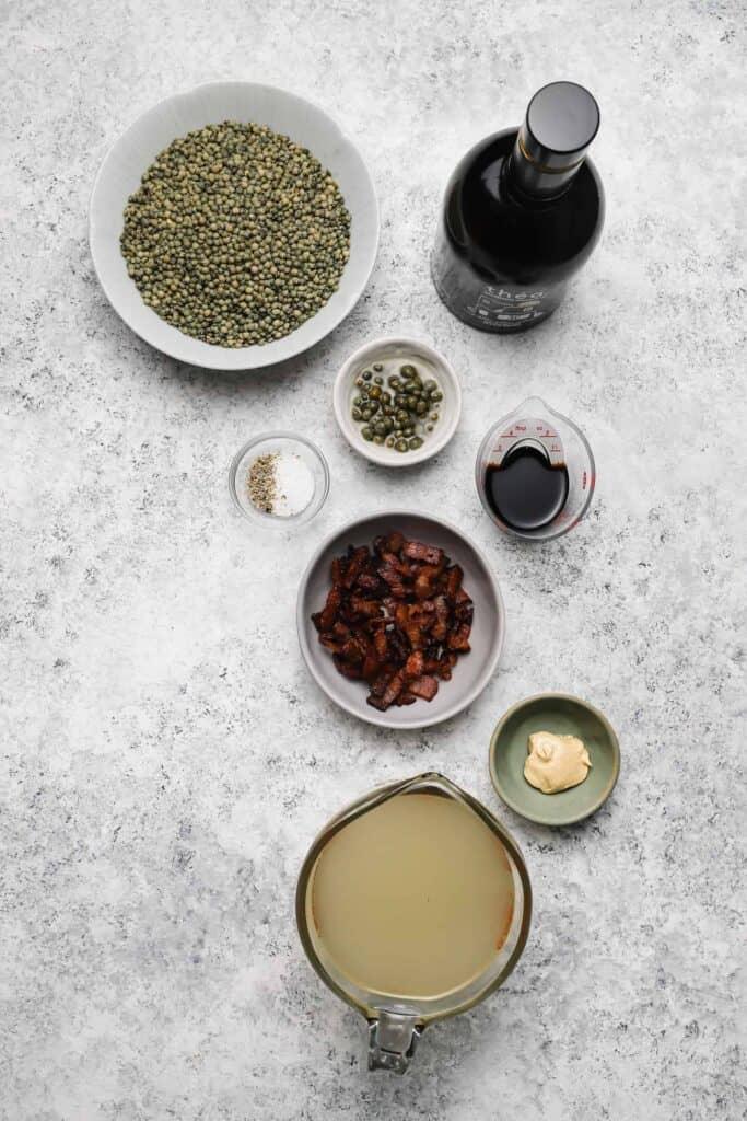 ingredients for warm lentil salad