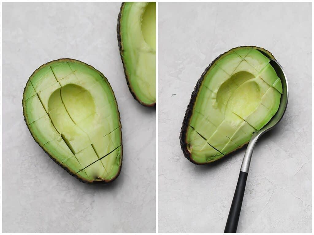 how to dice an avocado inside the avocado peel