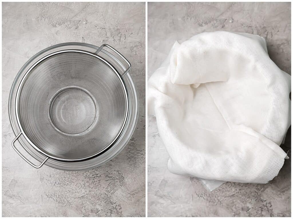 how to setup cheesecloth over fine mesh sieve to strain homemade ricotta cheese