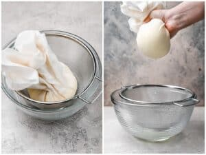 straining fresh ricotta in cheesecloth over a large bowl