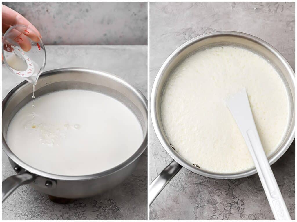 adding lemon juice to warmed milk to make fresh ricotta