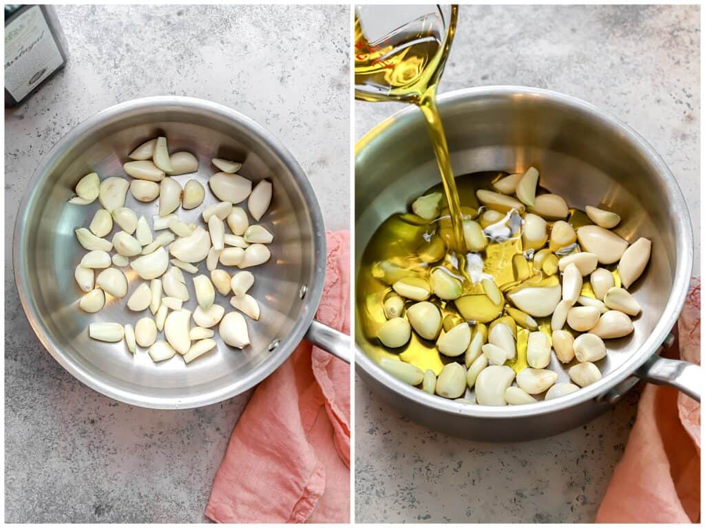 garlic cloves in a sauce pan with olive oil