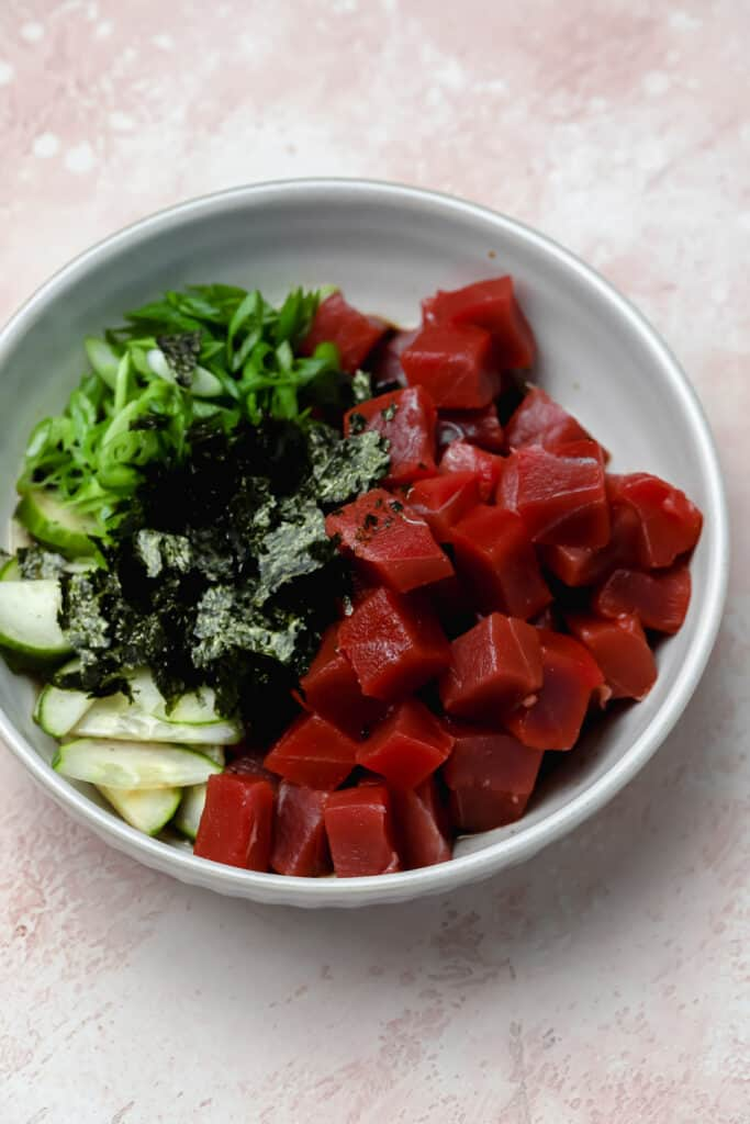 Ahi tuna before marinading for poké