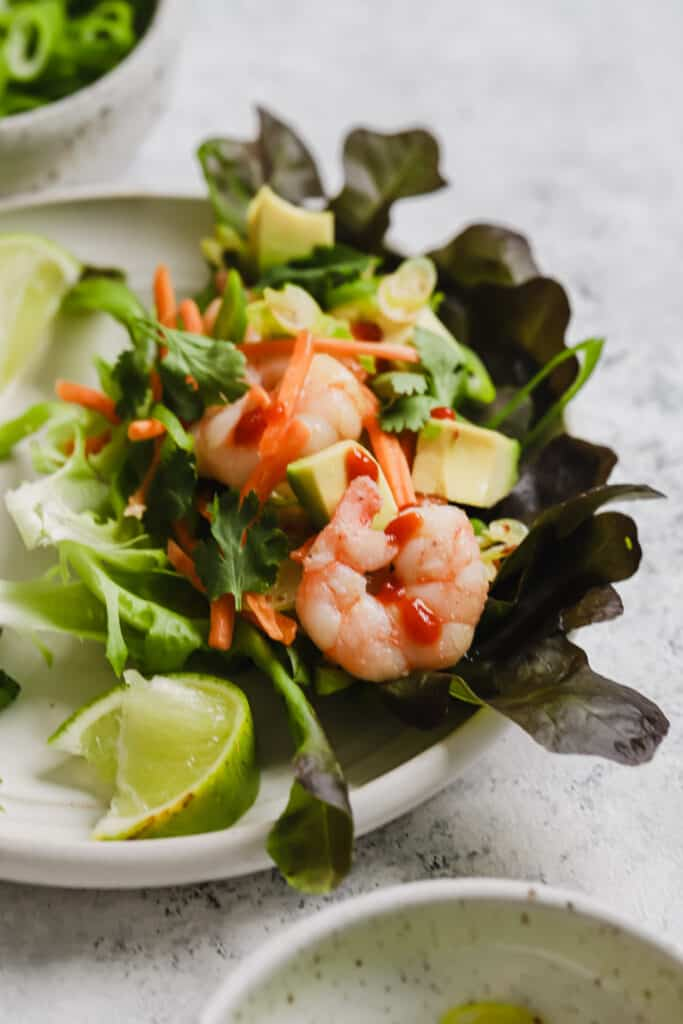 Asian shrimp lettuce wraps with sriracha