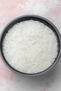 Cooked rice in a rice cooker