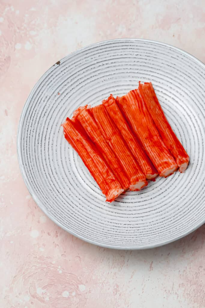 Imitation crab sticks in a bowl