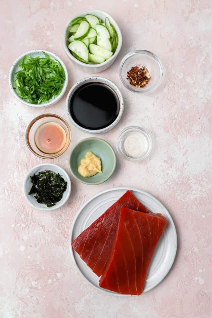 Ingredients for ahi tuna poké bowls