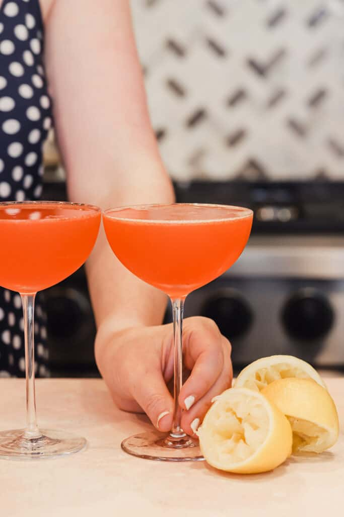 Paper plane cocktail with aperol and bourbon