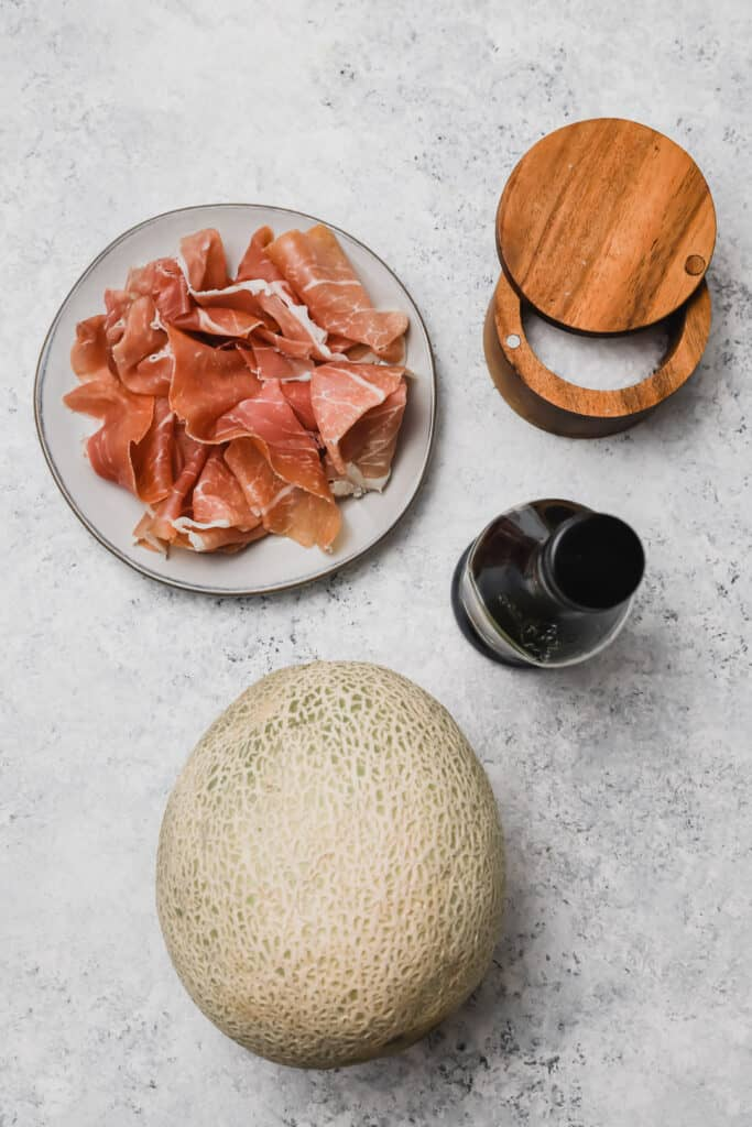 Prosciutto and melon ingredients