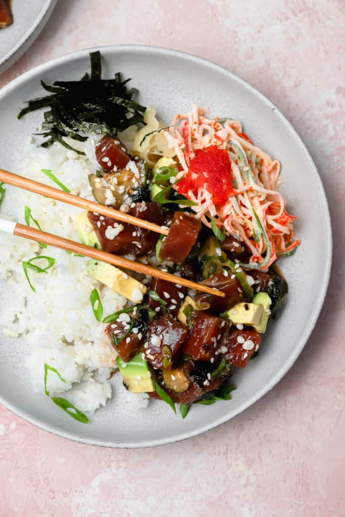 Tuna poké with kani salad