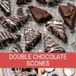 double chocolate chunk scones with vanilla frosting