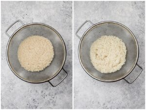rinsing rice in a strainer