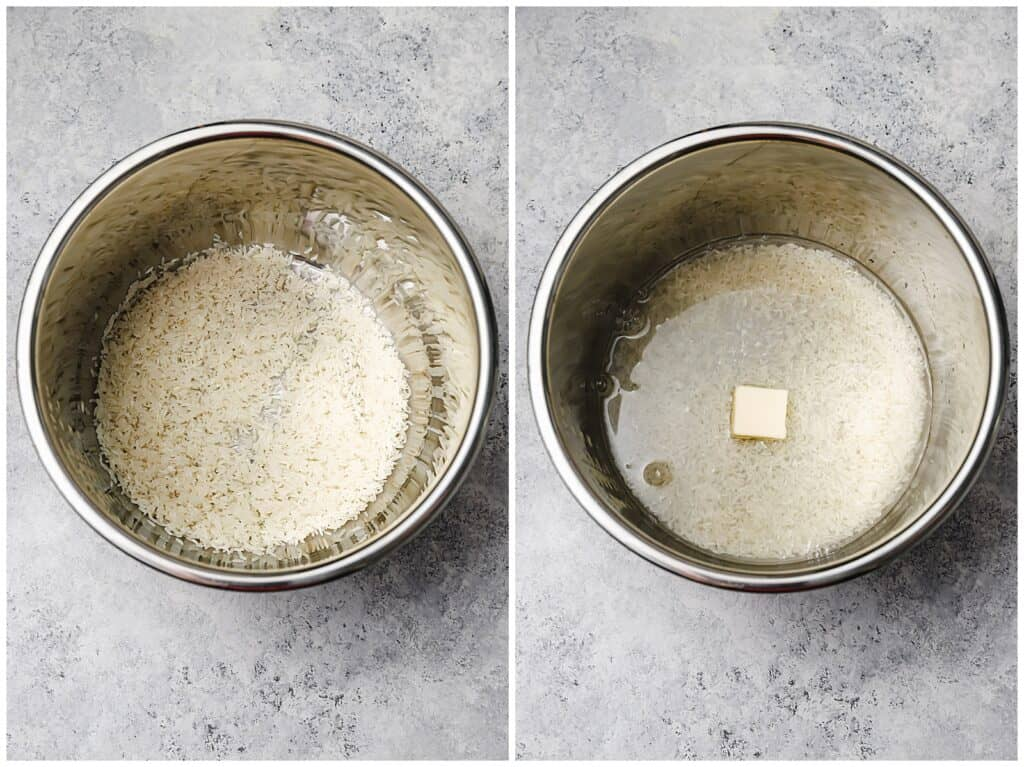 rice water and butter in an instant pot dish