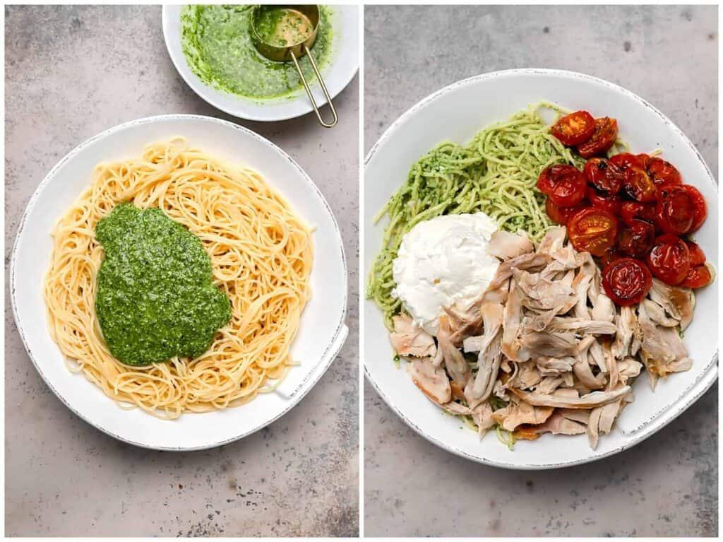 Spaghetti with pesto rotisserie chicken mascarpone and tomatoes in a bowl