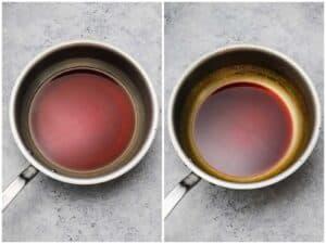 Reducing 3 ingredient teriyaki sauce in a pan