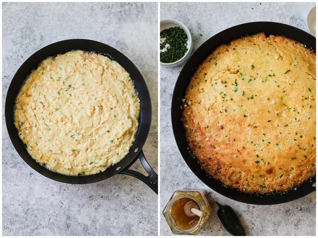 Cast iron skillet cornbread before and after baking