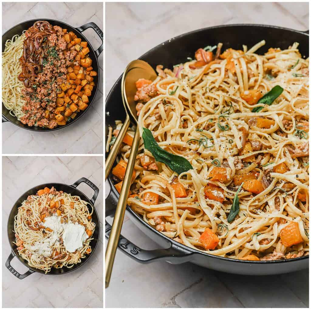 Mixing butternut squash and chorizo with pasta in a skillet with mascarpone and parmesan