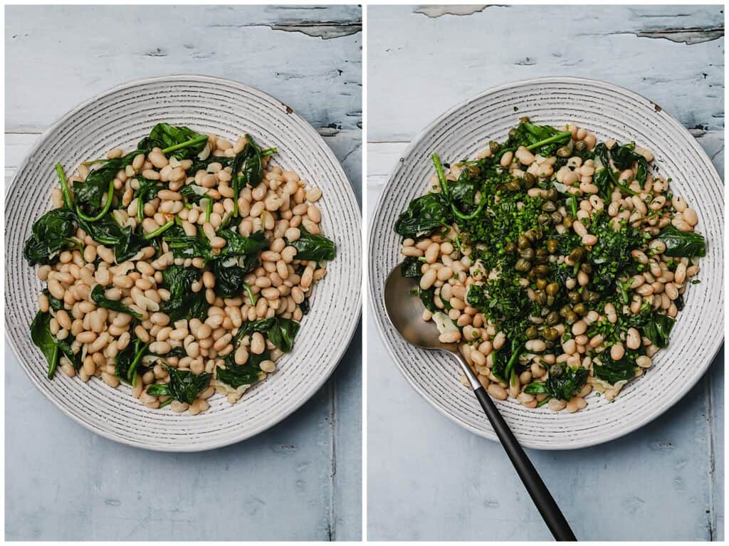 Garlic spinach and white beans in bowl with fine herbs and capers