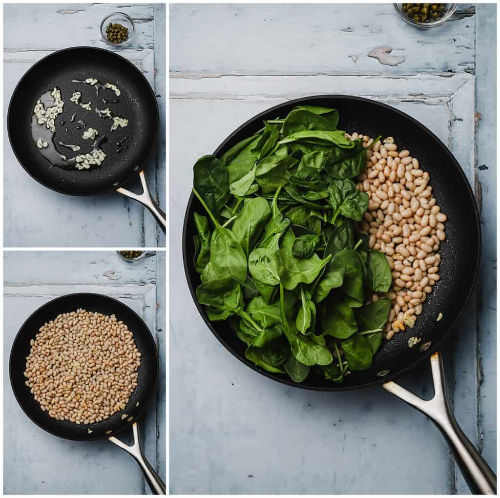 Sautéing garlic spinach and white beans in a skillet