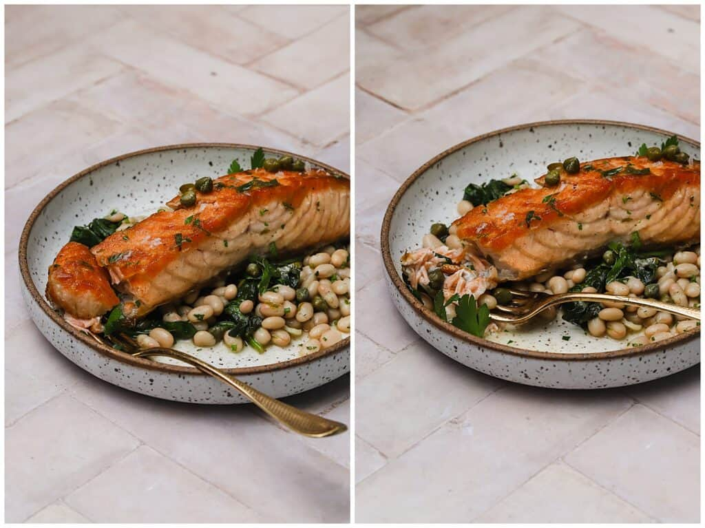 Crispy salmon piccata on a plate with garlic spinach and white beans