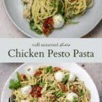 Chicken pesto pasta pinterest graphic