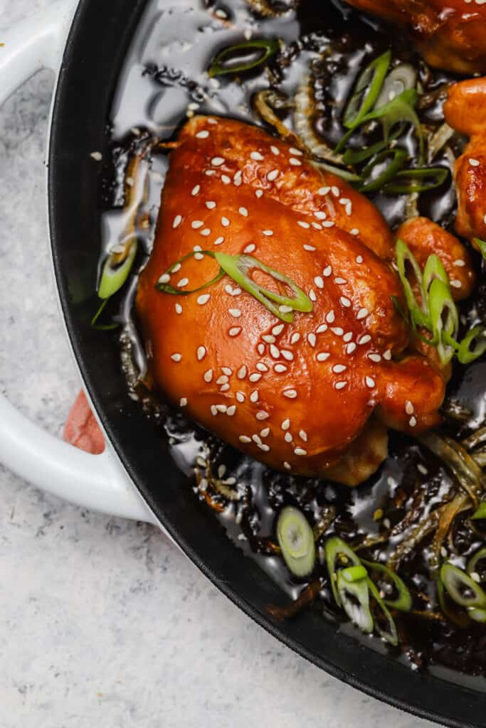 Chicken thighs with homemade teriyaki sauce and scallions