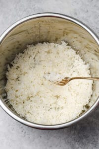 Fluffing basmati rice with a fork