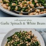 Garlic spinach and white beans pinterest graphic