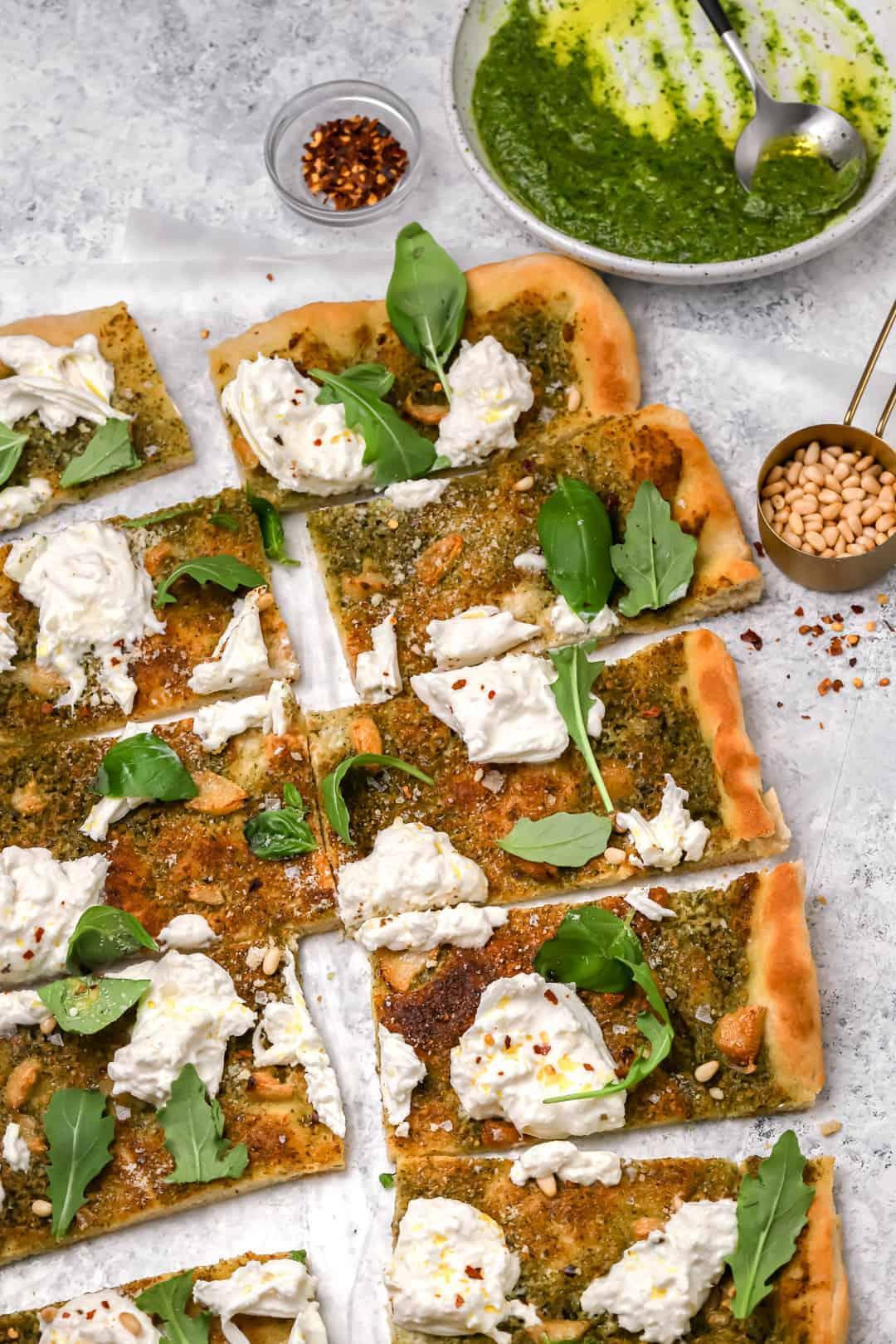 Homemade burrata pizza with garlic confit