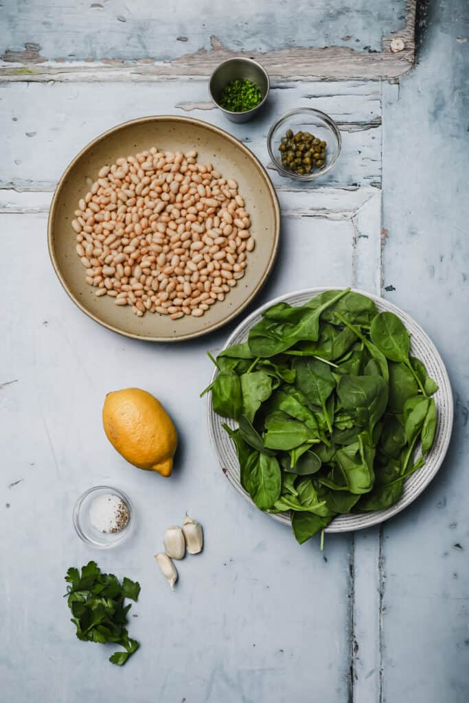 Ingredients for garlic spinach and white beans
