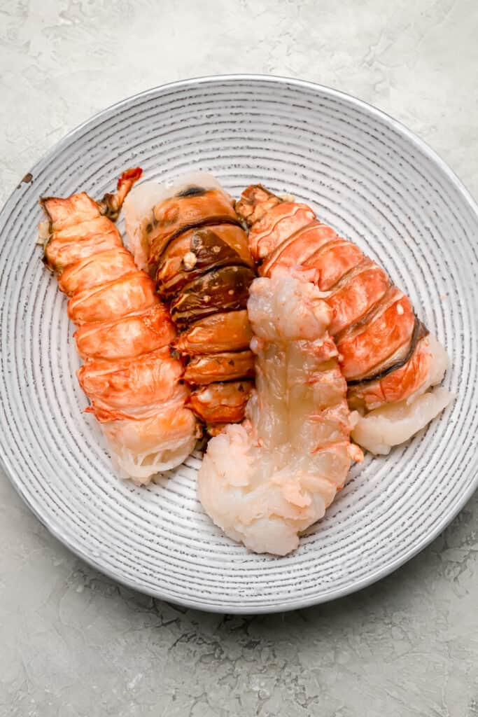 Lobster tail meat removed from shells