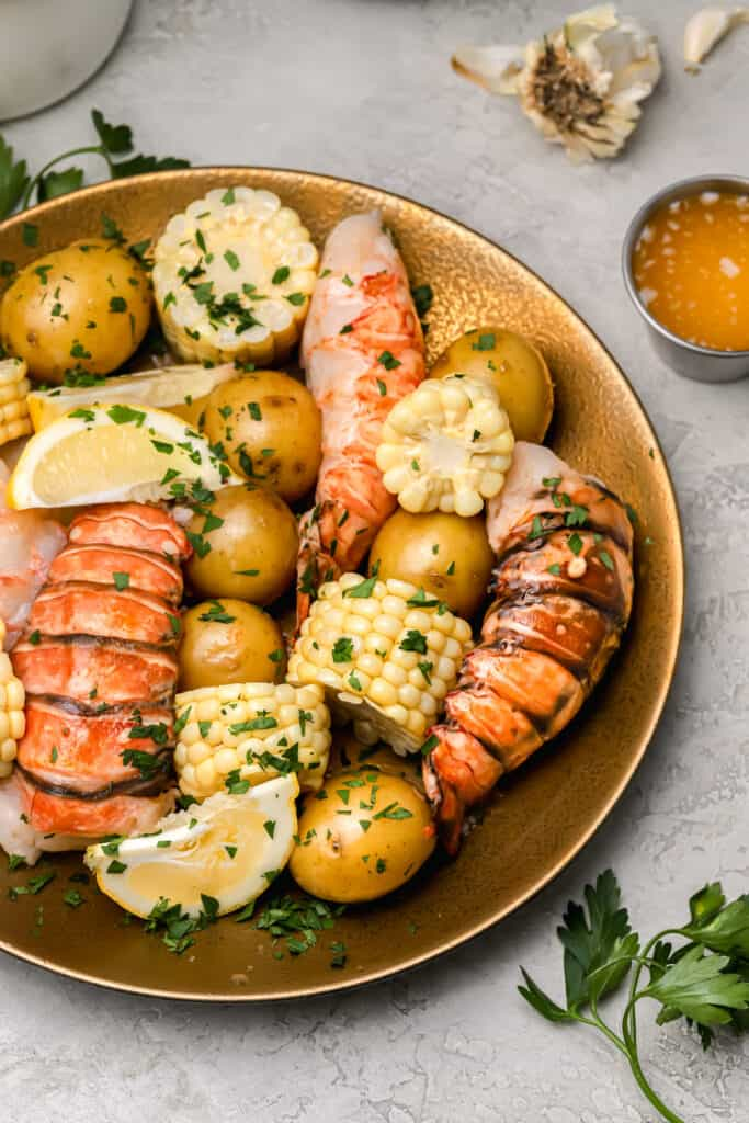 Soud vide lobster tail with corn and potatoes