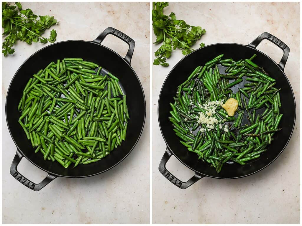 String beans in a cast iron skillet with garlic and ginger