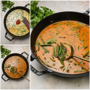 Homemade coconut curry sauce in a skillet with string beans