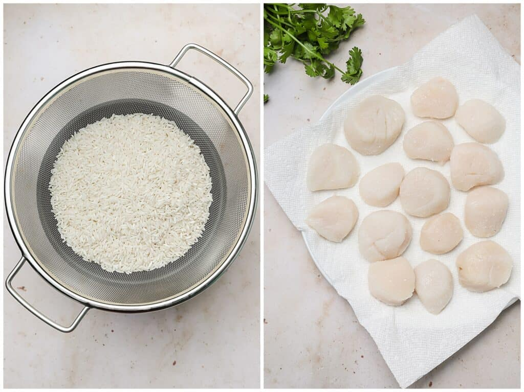 Rinsing rice in a colander and drying sea scallops on a paper towel