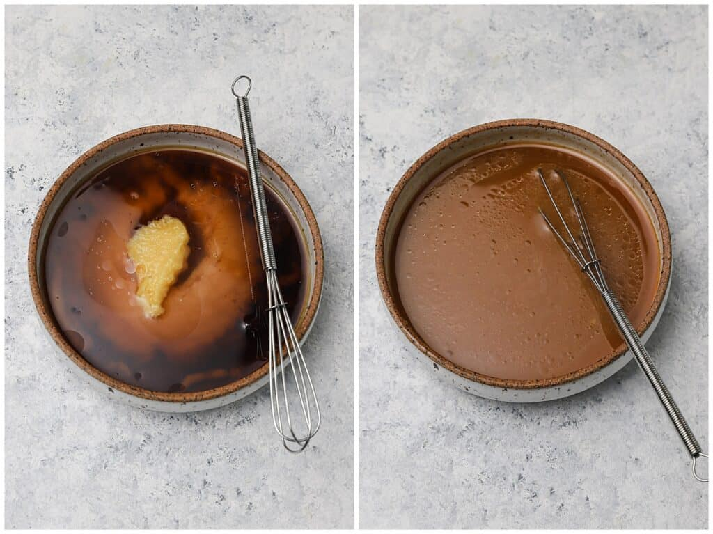 Miso ginger marinade in a bowl with a whisk