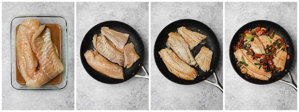 Cooking cod fillets in a skillet