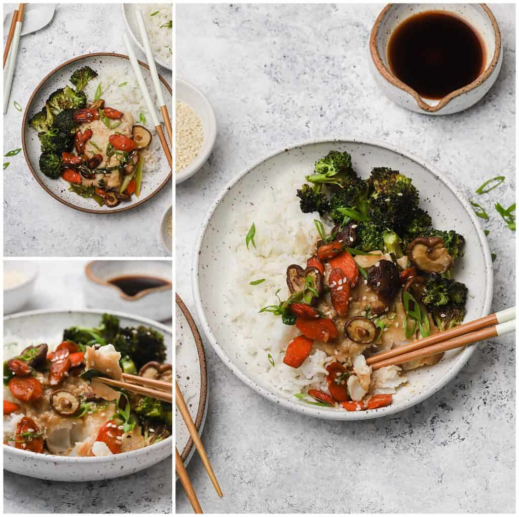 Miso cod with broccoli and white rice on a plate with chopsticks
