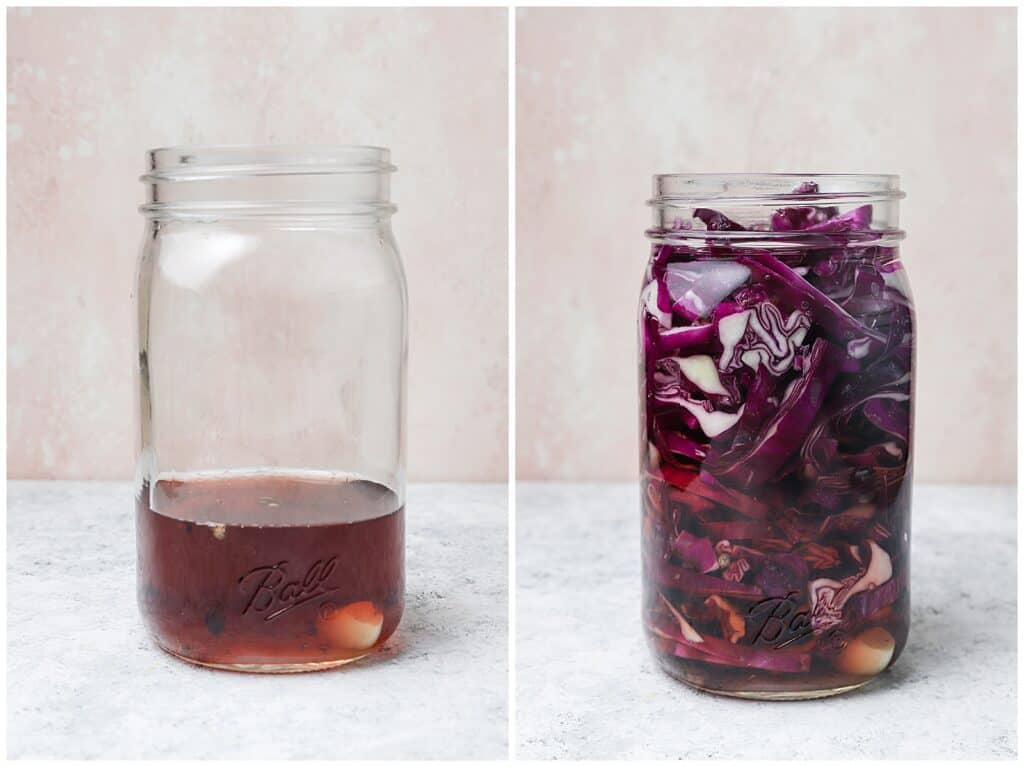 Adding sliced red cabbage to vinegar in a mason jar