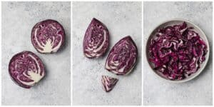 Slicing a red cabbage to remove the core
