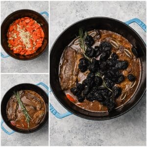 Steps to make flanken ribs in a dutch oven with prunes and carrots