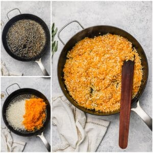 Toasting arborio rice in a skillet with butternut squash