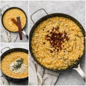 Stirring butternut squash risotto with parmesan and sage