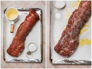 Seasoning a tenderloin on a baking sheet with butter salt and pepper